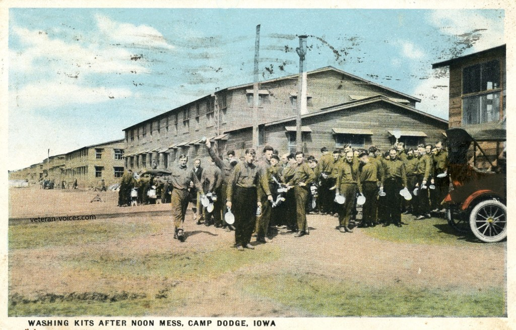 """Washing Kits After Noon Mess, Camp Dodge, Iowa"""