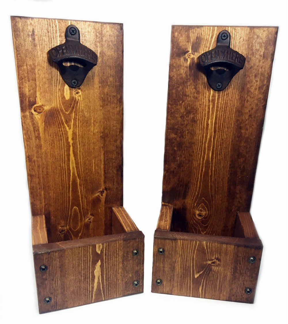 Wedding and Anniversary gift Wall Mount or Freestanding Go Ahead Take Your Top Off Drop Box Bottle Opener with Cap Catcher Solid Wood Groomsmen