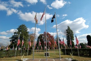 Flags in front of Charlotte Hall