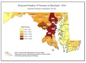 Projected Number of Veterans in Md: 422,282