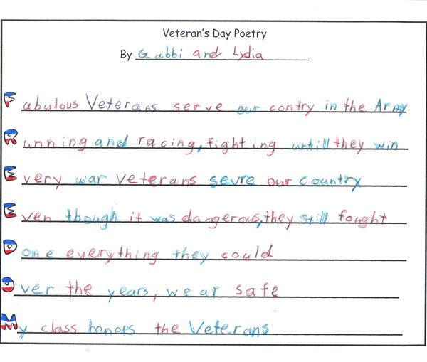 veterans day acrostic poems examples poemdoc or