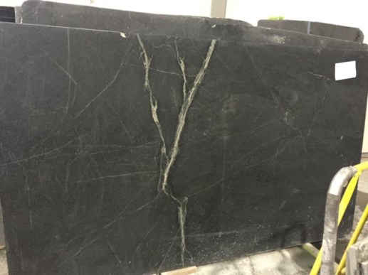 Cracked black marble counter top