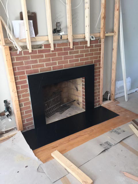 Marble trim on a fireplace