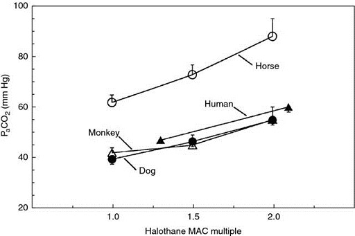 Graph shows halothane MAC multiple versus PaCO2 with plots  for species like monkey, dog, human, and horse.
