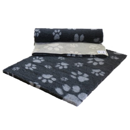 Vetfleece Non-Slip Multi Paws Charcoal with Grey Paws