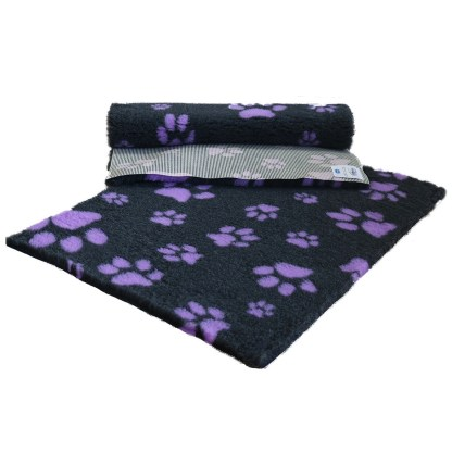 Vetfleece Non-Slip Multi Paws Charcoal with Lilac Paws