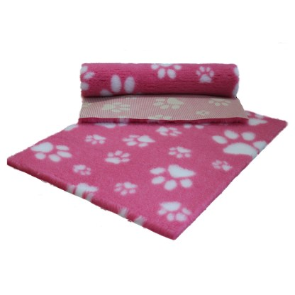 Vetfleece Non-Slip Multi Paws Pink with White Paws