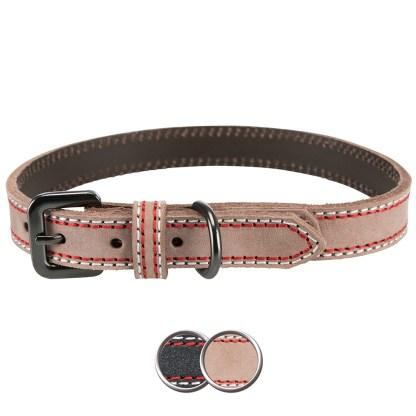 Luxury Leather Dog Collar Medium Large Cream Coloured