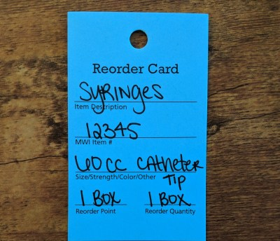 veterinary reorder tags