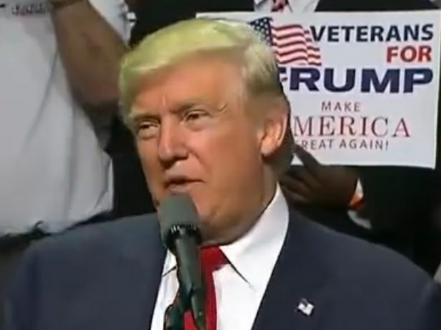 Vets for Trump sign behind President Trump
