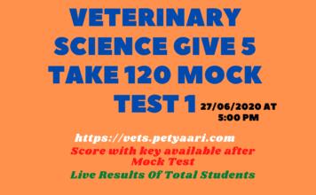 Veterinary Science Give 5 Take 120 Mock Test 1