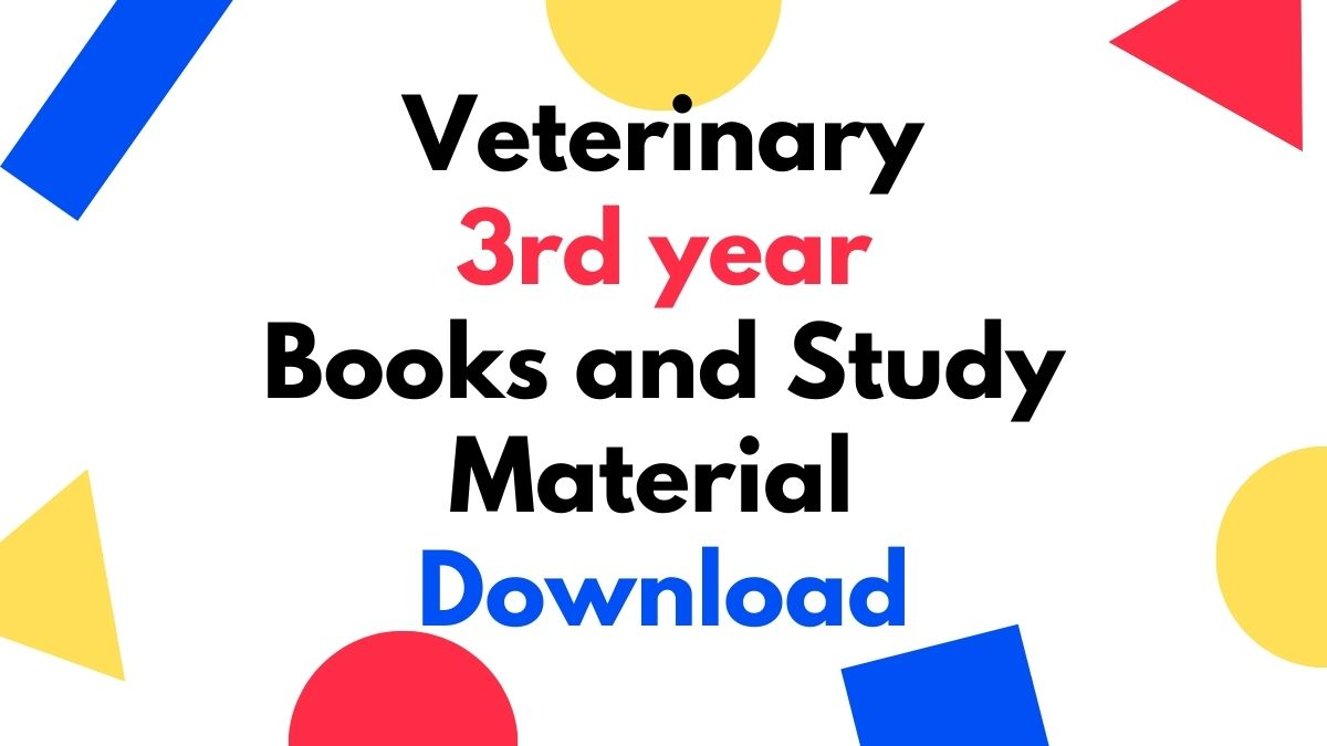 Veterinary 3rd year Books and Study Material Download