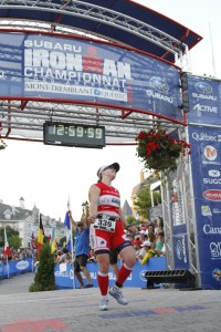 finish line at Ironman Treblant, Adelle Isaacs