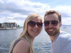 Min kone Annabelle og meg på sommerferie i min heimbygd Os.