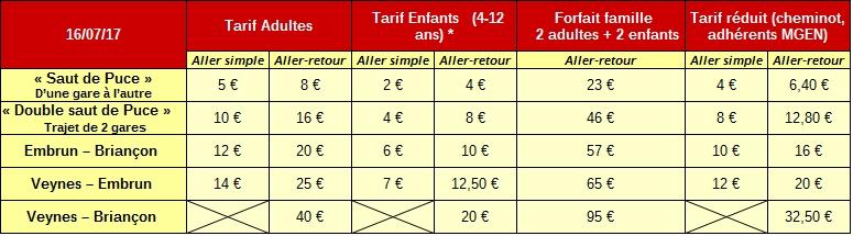 tarif 16 juillet