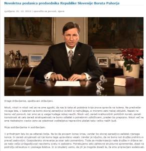 Pahor poslanica za  novo leto