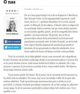 Večer Katja Šeruga komentar samomor ravnatelj