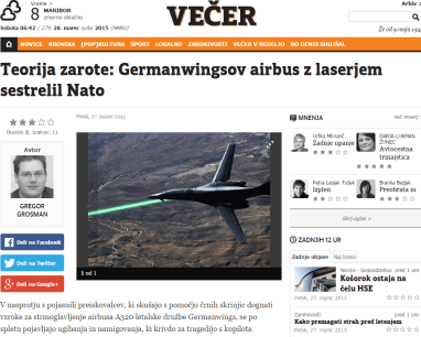 Germanwings teorija zarote Večer