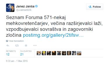Janša F571 mehovretenčarji tvit