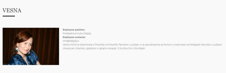 Češplja osebe Vesna Vilčnik