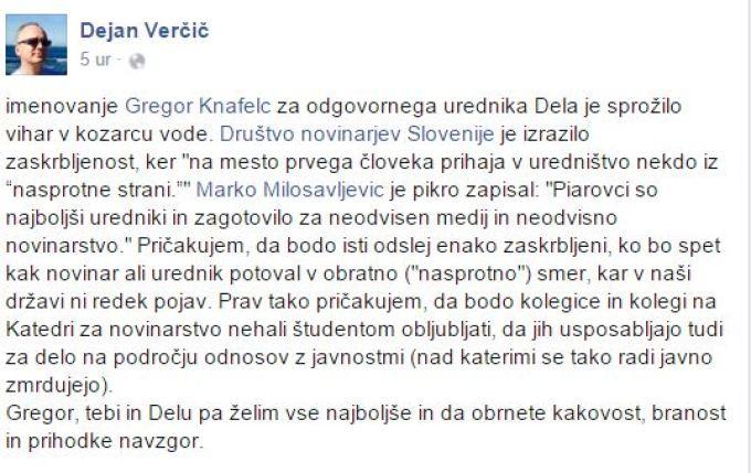 Dejan Verčič novi urednik Dela Knafelc