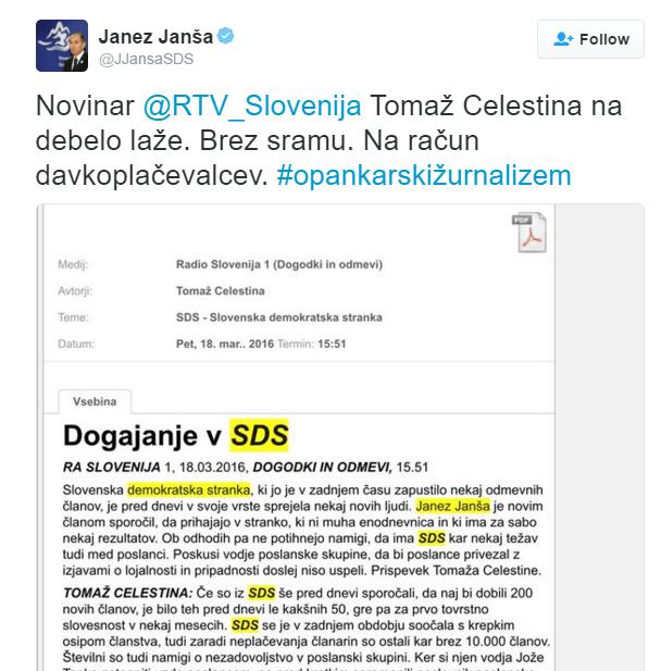 Janša tvit novinar Celestina