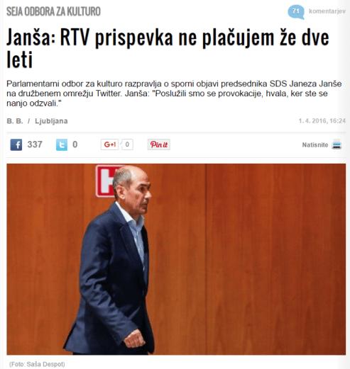 Janša žurnal neplačilo prispevka