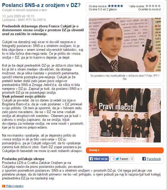 Poslanci SNS orožje pištole