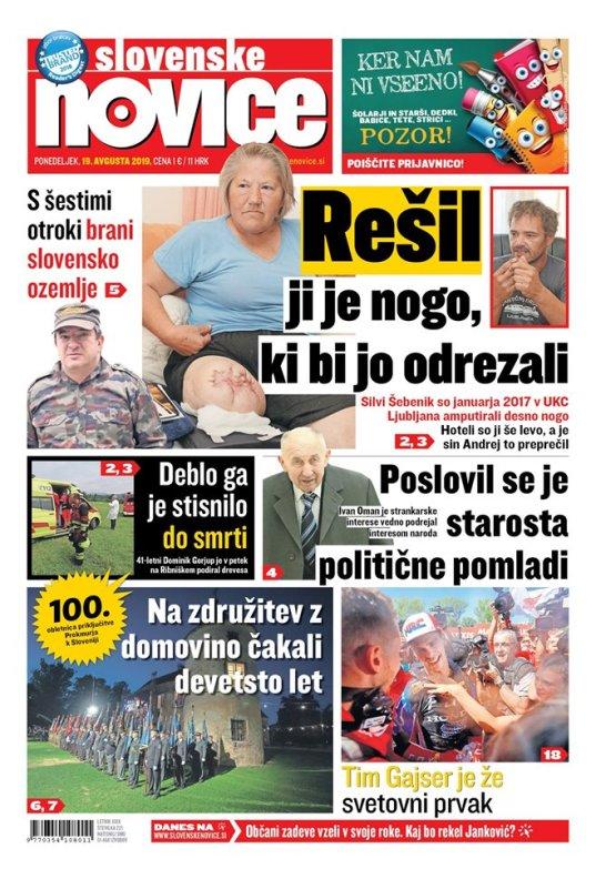 sn slovenske novice naslovnica