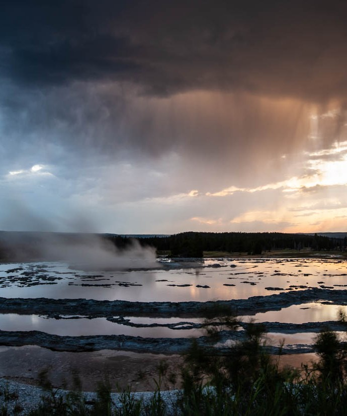 Sunset at the Great Fountain Geyser in Yellowstone