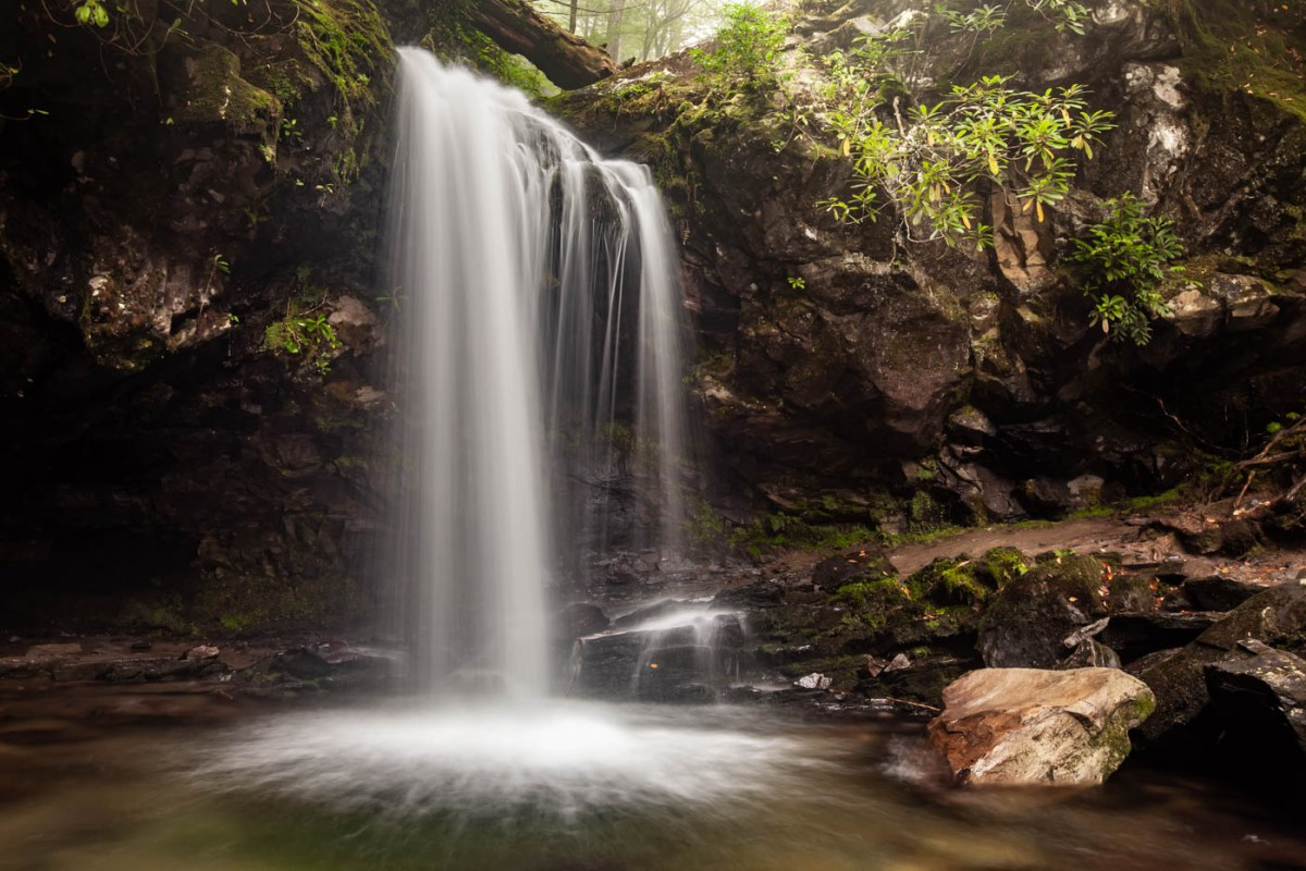 Grotto Falls Hike along the Trillium Gap Trail off of the Roaring Fork Motor Nature Trail at Great Smoky Mountains National Park - Photograph Silky Waterfalls #vezzaniphotography