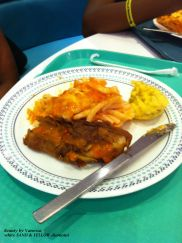Local Bajan cuisine - Fried fish, macaroni pie and coo coo