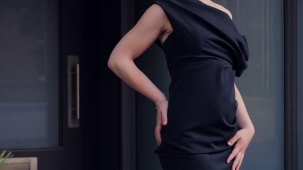 Female model black dress fashion videographer leeds