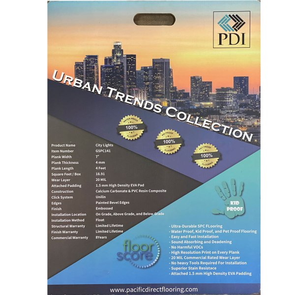 PDI Flooring, Urban Trend Collection, SPC Flooring in City Light | VFO FLooring