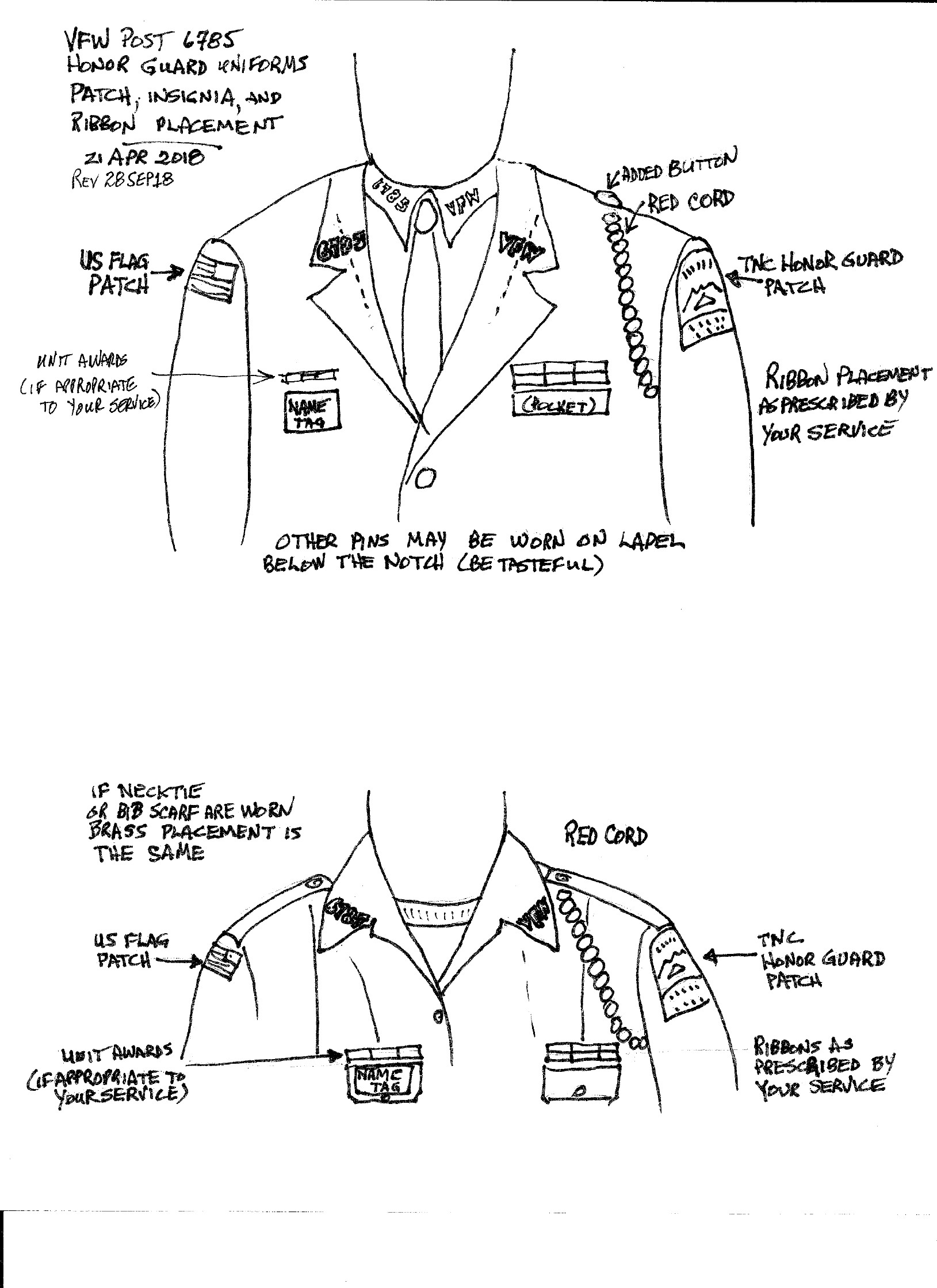 Wearing Of Honor Guard Uniforms