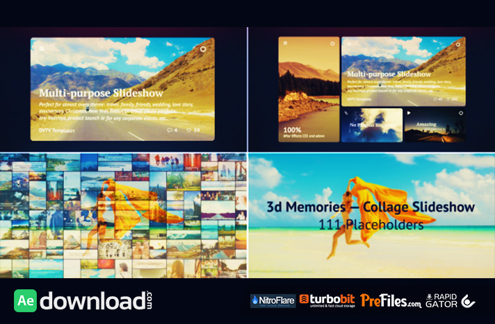 3d Memories Collage SlideshowFree Download After Effects Templates