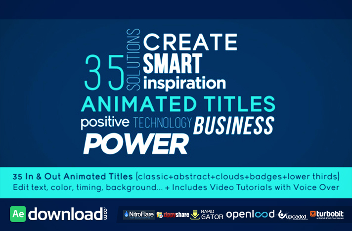 35 Animated Titles free download (videohive template)