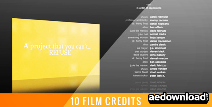 10 film credits after effects project videohive free. Black Bedroom Furniture Sets. Home Design Ideas