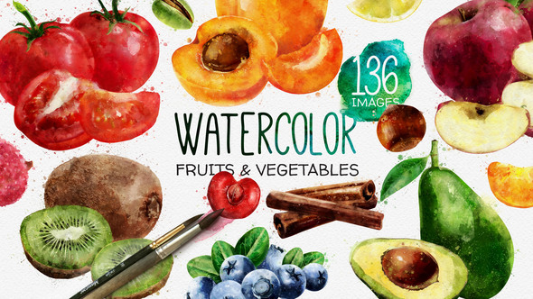 VIDEOHIVE WATERCOLOR FRUITS AND VEGETABLES