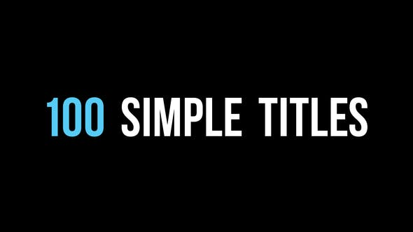 VIDEOHIVE 100 SIMPLE TITLES