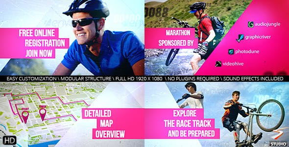 VIDEOHIVE CYCLING MARATHON BROADCAST DESIGN
