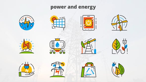 VIDEOHIVE POWER AND ENERGY – FLAT ANIMATED ICONS