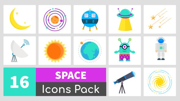 VIDEOHIVE 16 ANIMATED SPACE ICONS PACK