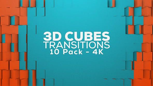 3d Cubes Transitions 10 Pack 4k