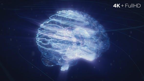 Digital AI Brain Logo Reveal