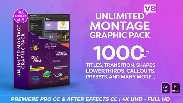 Montage Graphic Pack / Titles / Transitions / Lower Thirds and more V8