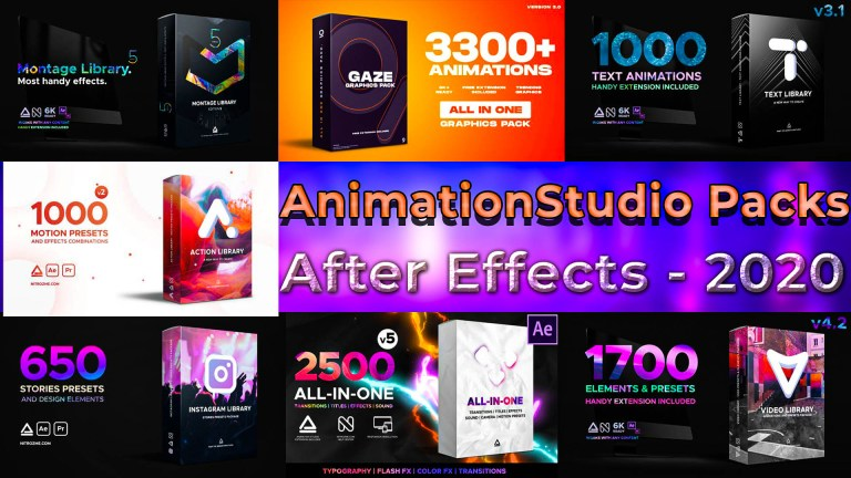 AnimationStudio All Packs For After Effects 2020 Updates