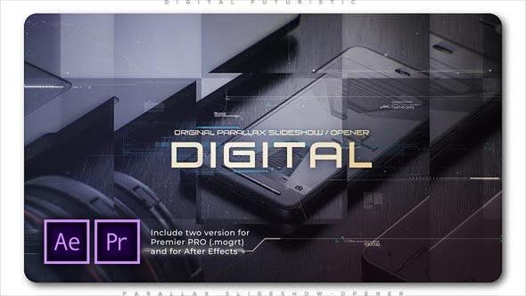 Digital Futuristic Parallax Slideshow Opener