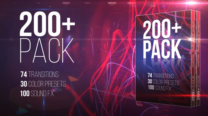 200+ Pack: Transitions; Color Presets; Sound FXs Premiere Pro Presets