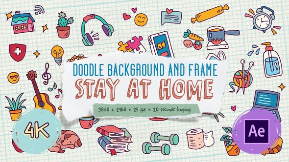 Doodle Background and Frame - Stay At Home